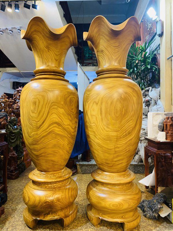Lục bình gỗ cẩm vàng cao 2m đường kính 59cm - 4