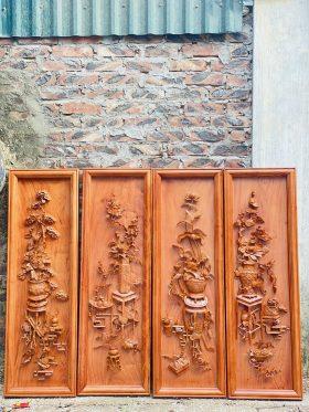Tranh tứ bình gỗ hương đá khung đơn 1