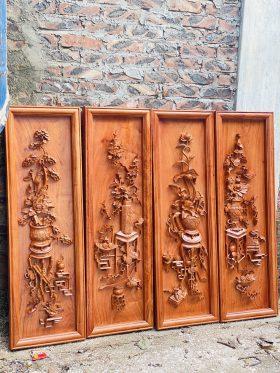 Tranh tứ bình gỗ hương đá khung đơn 2