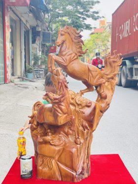 Tượng Song Mã Uyên Ương Gỗ Hương Ta Cao 86cm - 1