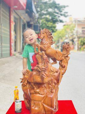 Tượng Song Mã Uyên Ương Gỗ Hương Ta Cao 86cm - 2