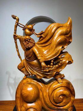 Tượng đạt ma múa võ gỗ hồng sắc cao 73cm - 2