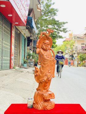tượng đạt ma quá hải gỗ hương đá cao 1m - 1