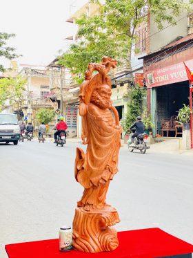 tượng đạt ma quá hải gỗ hương đá cao 1m - 2