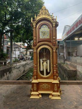 Đồng hồ cây tứ trụ thiếc vàng tứ diện