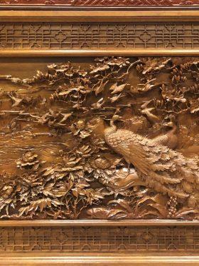 tranh gỗ phu thê viên mãn ngang 210cm