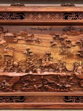Tranh gỗ vinh quy bái tổ gỗ hương vân