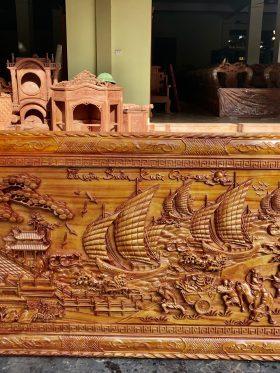 tranh gỗ thuận buồm xuôi gió gỗ gõ