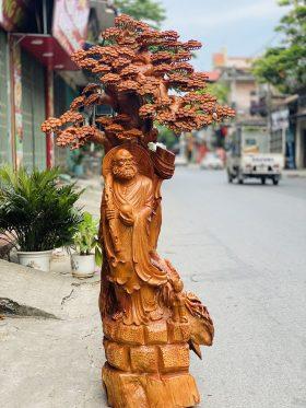 tượng gỗ đạt ma dưới tán tùng