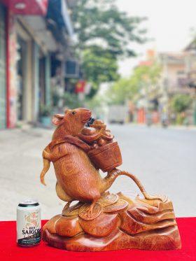 Tượng chuột tài lộc gỗ hương ta cao 37cm - 1