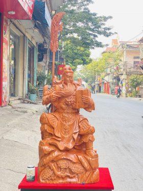 Tượng quan công đọc sách gỗ hương đá cao 90cm - 1