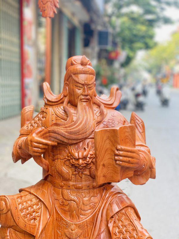 Tượng quan công đọc sách gỗ hương đá cao 90cm - 5