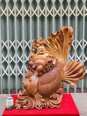 Di Lặc Nhất Phúc Ngồi Cá Chép Gỗ Ngọc Am Cao 80cm - 1