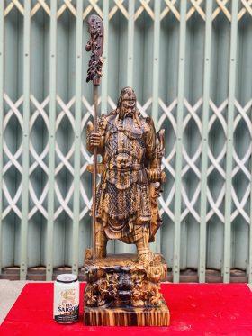 Quan Công Trấn Ải Gỗ Mun Hoa Cao 60cm -1