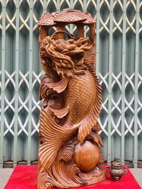 Cá Chép Hoá Rồng Gỗ Ngọc Am Cao 95cm - 1