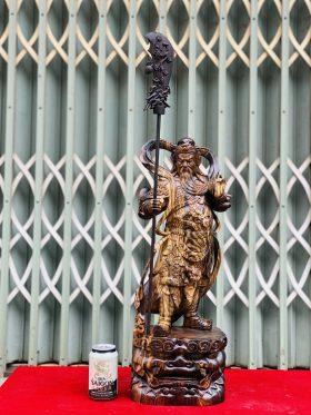 Quan Công Đứng Hổ Phù Gỗ Mun Hoa Cao 60cm - 1