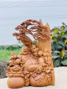 Tượng di lặc gốc tùng gỗ ngọc am cao 67cm - 1
