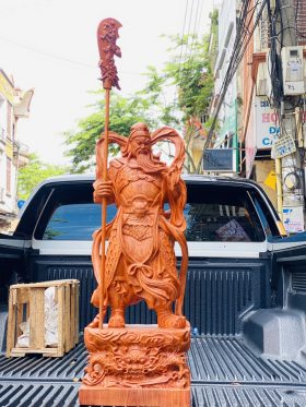 Quan Công Đứng Hổ Phù Gỗ Hương Đá Cao 80cm - 1